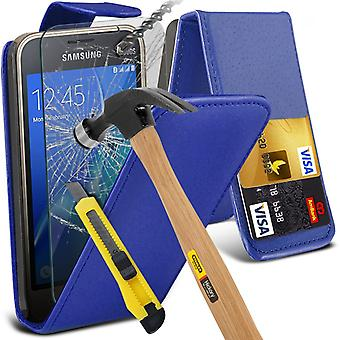 i-Tronixs Samsung Galaxy J5 2016   PU Leather Flip Case Cover + Glass Screen Protector -Blue