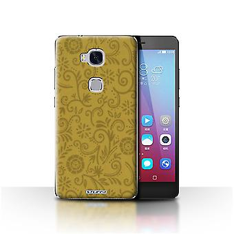 STUFF4 Case/Cover for Huawei Honor 5X/GR5/Yellow Flower/Floral Swirl Pattern