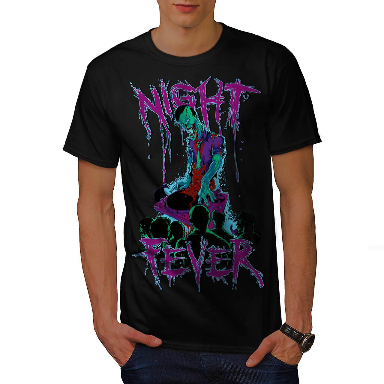 DJ Zombie Night Fever Undead Rip Men Black T-shirt | Wellcoda