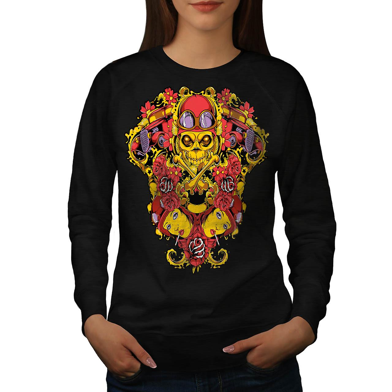 Skeleton Pilot Horror Air Plane Women Black Sweatshirt | Wellcoda