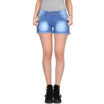 Fitted Stretch Faded Denim Hot Pants Shorts Frayed Ends - Blue
