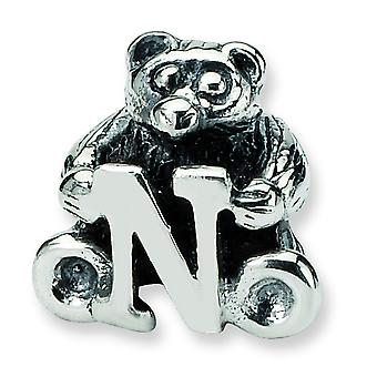 Sterling Silver Antique finish Reflections Kids Letter N Bead Charm