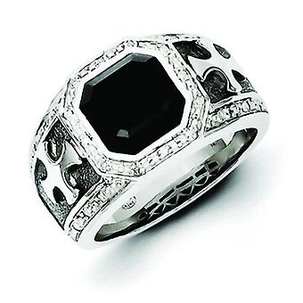 Sterling Silver Polished Prong set Gift Boxed Diamond and Simulated Onyx Black Rhodium-plated Cross Mens Ring - Ring Siz