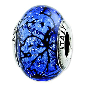 Sterling Silver Reflections Blue With Black Lines Italian Murano Glass Bead Charm