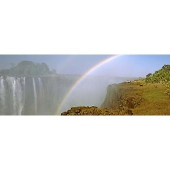 Rainbow form in the spray created by the water cascading over the Victoria Falls Zimbabwe Poster Print