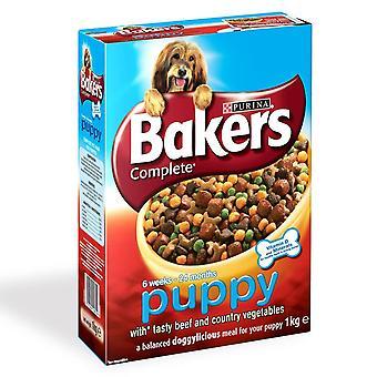 Bagere komplet hvalp / Junior oksekød 1kg (pakke med 4)