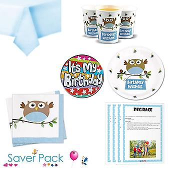 Little Owl Boy Birthday Wishes Party Tableware Saver Pack