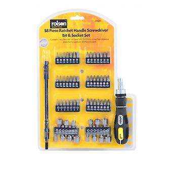 58 Piece Ratchet Handle Screwdriver Bit And Socket Set With Flexi Extension