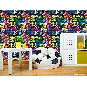Graffiti Wallpaper Paint Splash Brick Effect Urban Multi Coloured Rasch