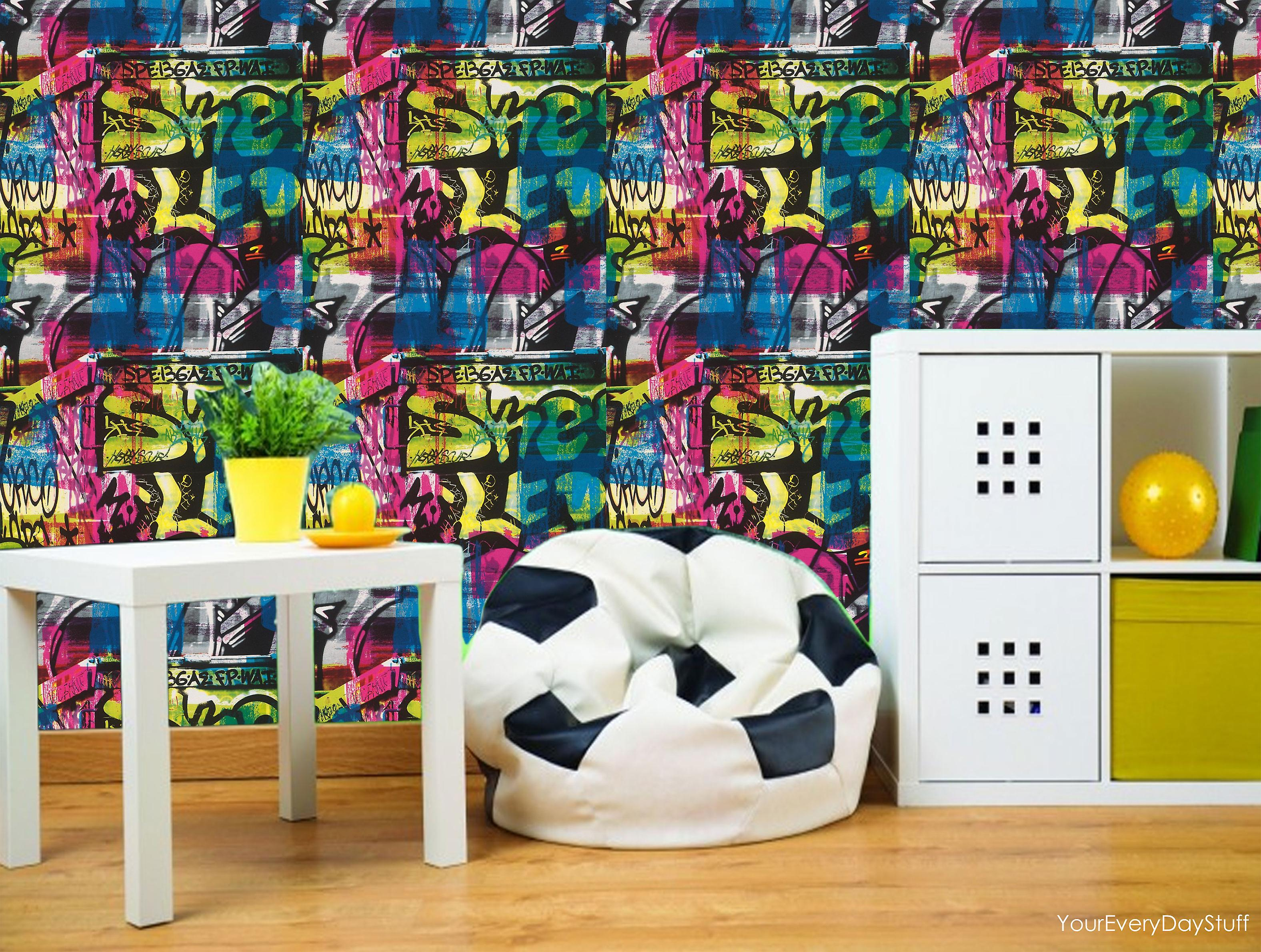 graffiti tapete farbe splash ziegel wirkung urban multi coloured rasch fruugo. Black Bedroom Furniture Sets. Home Design Ideas
