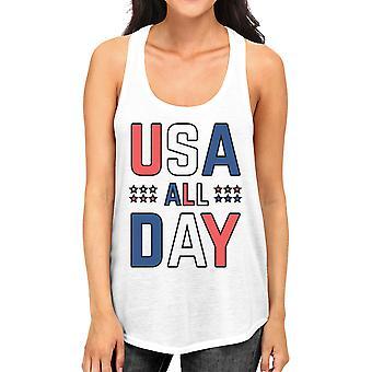 USA alla dag kvinnor vit bomull linne söt 4 juli design