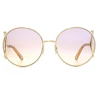 Chloe Jackson Round Racket Temple Sunglasses In Gold Peach