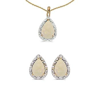 10k Yellow Gold Pear Opal And Diamond Earrings and Pendant Set