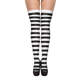 Spooky Striped Black & White Hold Up Stockings Halloween Fancy Dress Accessory