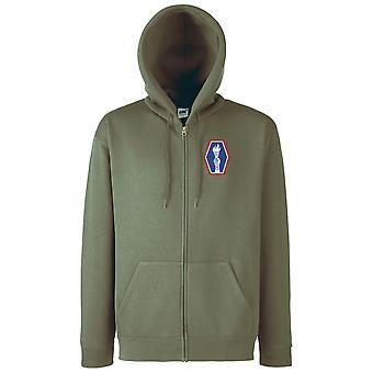 Amerikanska armén 100: e bataljonen broderad Logo - zippade Hoodie jacka