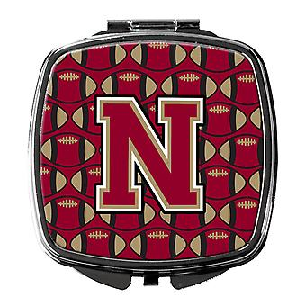 Letter N Football Garnet and Gold Compact Mirror
