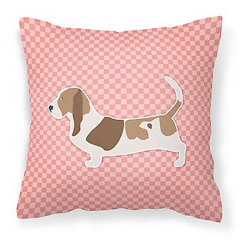 Basset Hound Checkerboard Pink Fabric Decorative Pillow