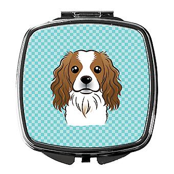 Carolines Treasures  BB1162SCM Checkerboard Blue Cavalier Spaniel Compact Mirror