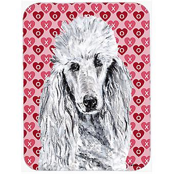 White Standard Poodle Hearts and Love Mouse Pad, Hot Pad or Trivet