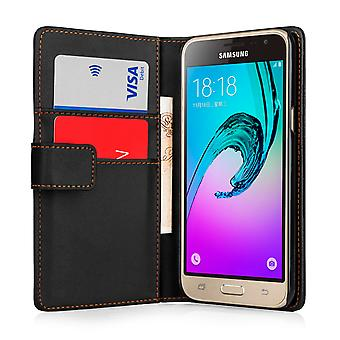 Samsung Galaxy J3 Leather Effect Wallet Case - Black