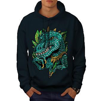 Cool Dinosaur Men NavyHoodie | Wellcoda