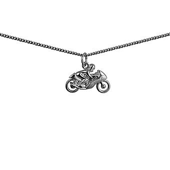 Silver 20x14mm Motorbike and Rider Pendant with a curb Chain 24 inches