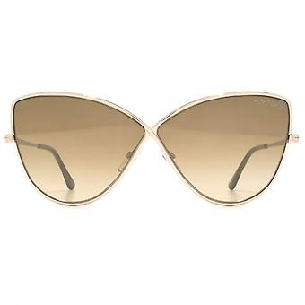 Tom Ford Elise 02 Sunglasses In Shiny Rose Gold Brown Mirror