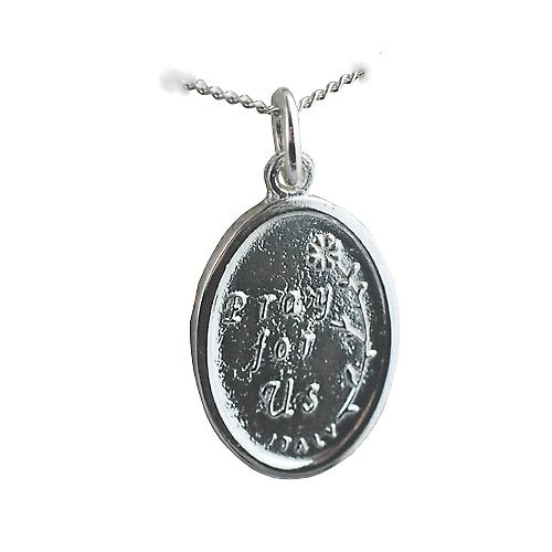 Silver 21x15mm oval St Joseph Pendant with a curb Chain 20 inches