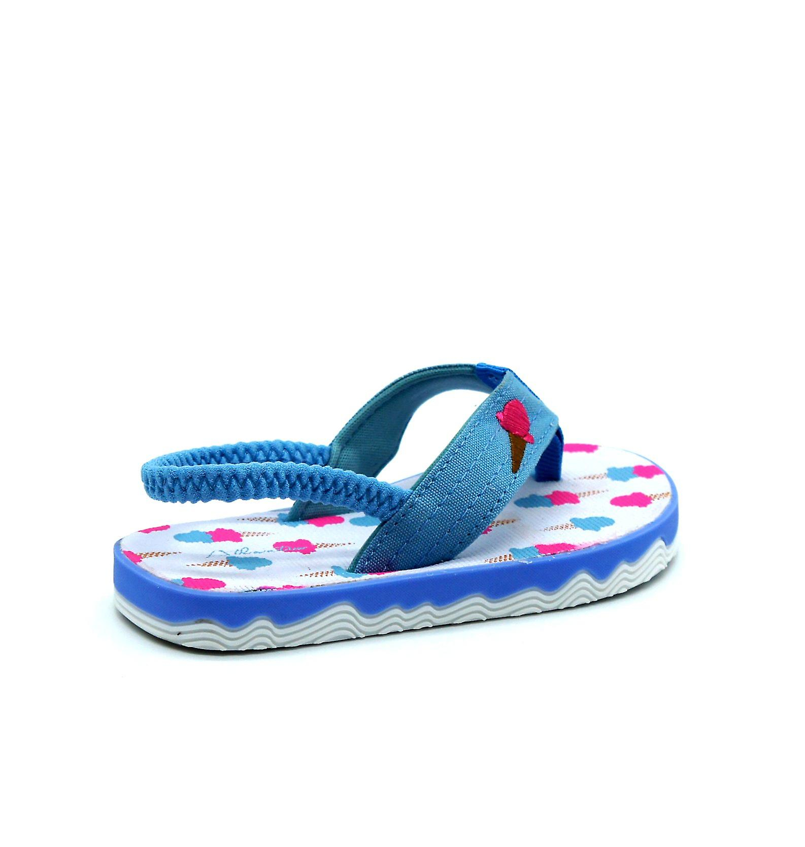 Atlantis Shoes Kids Unisex Girls & Boys Supportive Cushioned Comfortable Sandals Flip Flops Ice Cream Lover Blue