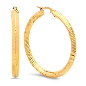 Ladies 18K Gold Plated Stainless Steel Striped Hoop Earrings