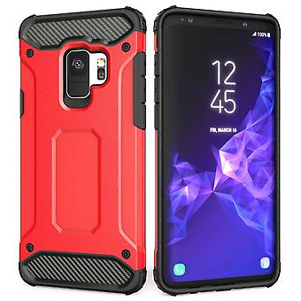 Samsung Galaxy S9 Armoured Shockproof Carbon Case - Red
