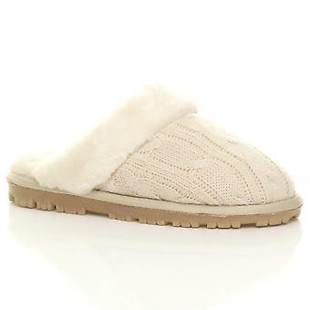 Ajvani dame flad vinter faux sheepskin pels foret slip på luksus muldyr hjemmesko sko