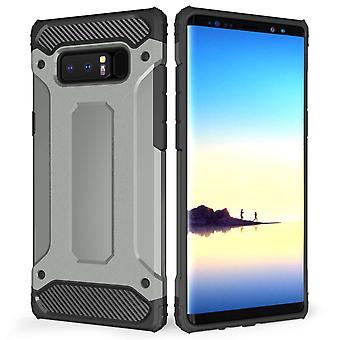 Samsung Galaxy Note 8 gepantserde schokbestendige Carbon Case - staal blauw