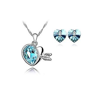 Crystal Love Hearts Silver Drop Earrings and Necklace Jewellery Set in Blue