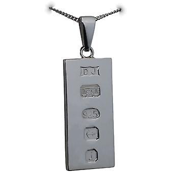 Srebrny 30x15mm stałe wyświetlanie hallmark sztabki pół uncji wisiorek za kaucją z krawężnika łańcucha 18 cali