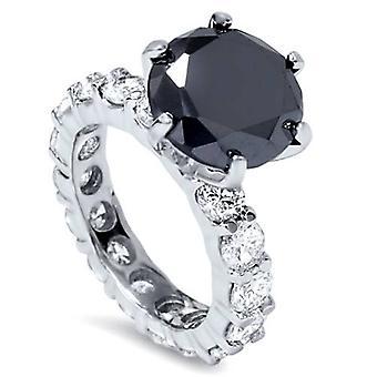 9ct Black & White Diamond Eternity Engagement Ring 14K White Gold