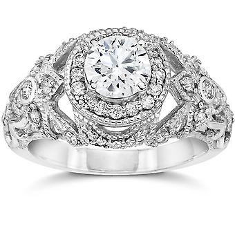 Emery 1 Ct Vintage Halo Antique Diamond Engagement 14K White Gold