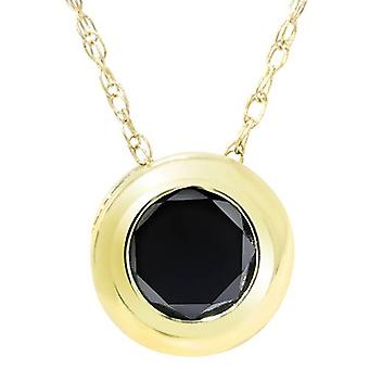 1 1/10ct Black Diamond Bezel Solitaire Pendant 14K Yellow Gold