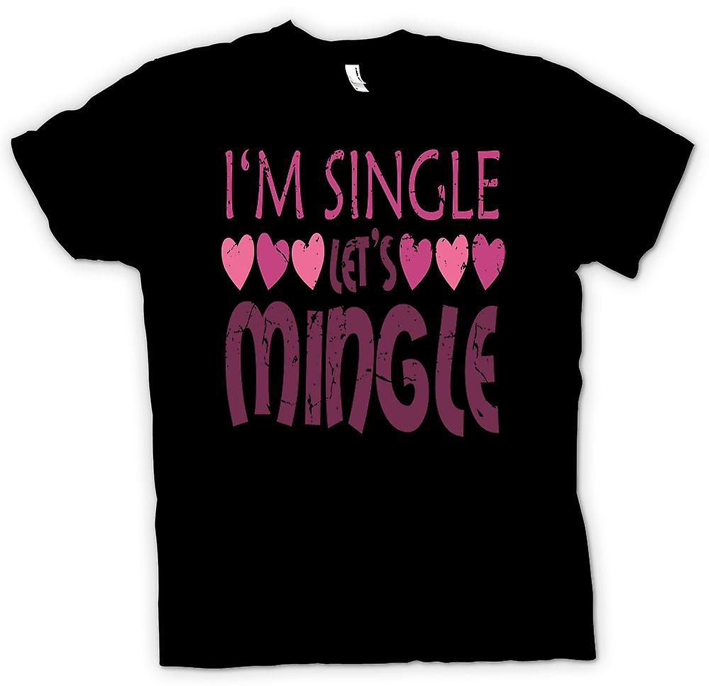 Mens T-shirt - Im Single Lets Mingle, Heart - Funny