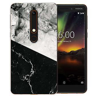 Nokia 6 (2018) zwart wit marmeren segment TPU Gel geval