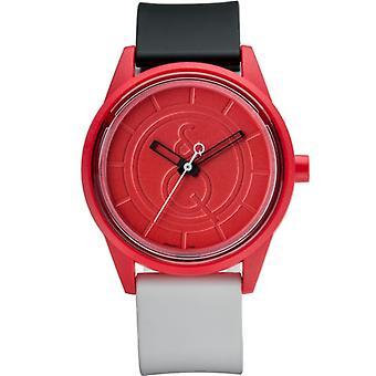 Q & Q Unisex clock Solar Smile Solar Analog RP00J007Y black / white / red
