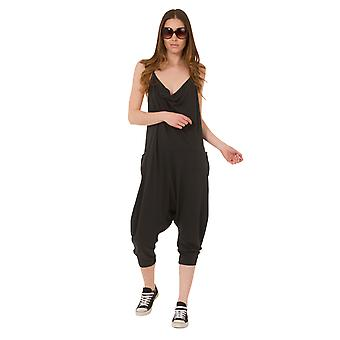 Jersey Jumpsuit - Charcoal Drop Crotch Lightweight Stretch Relaxed Fit Playsuit