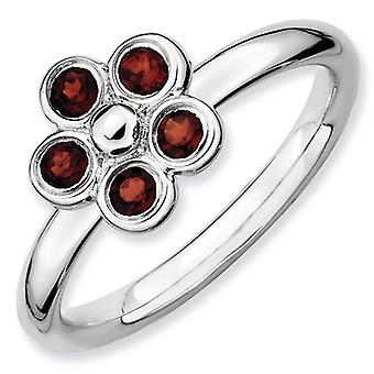 Sterling Silver Bezel Polished Rhodium-plated Stackable Expressions Garnet Flower Ring - Ring Size: 5 to 10