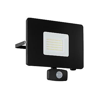Eglo Budget Slimline 50W Black LED Floodlight With Movement Sensor