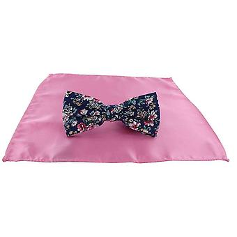 Michelsons of London Contast Floral Bow Tie and Plain Pocket Square Set - Pink