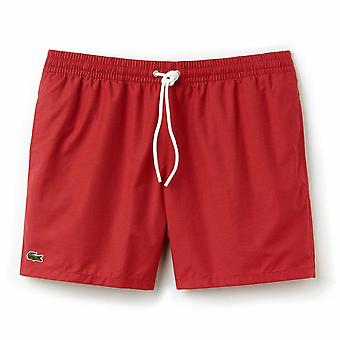 Lacoste Cotton Taffeta Swim Shorts, Intense Red, Small