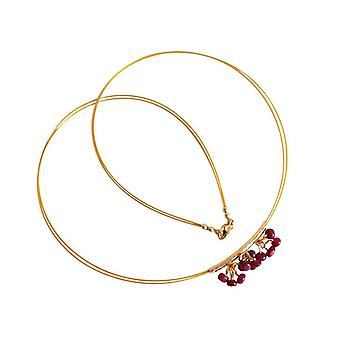 Gemshine - ladies - necklace - gold - Ruby - Red - 45 cm - CONFETTI