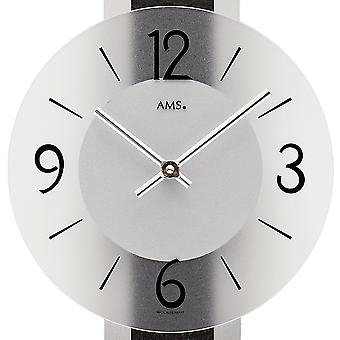 modern wall clock with quartz slate application on polished aluminum