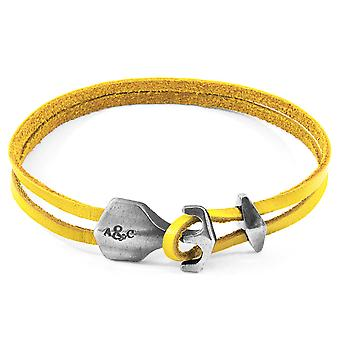 Anchor & Crew Mustard Yellow Delta Anchor Silver and Flat Leather Bracelet