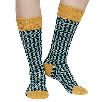 Terwilliger recycled cotton patterned crew socks in honey | By Sidekick